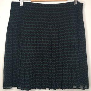 Loft Dark/Black Pleated Flair Skirt Sz12